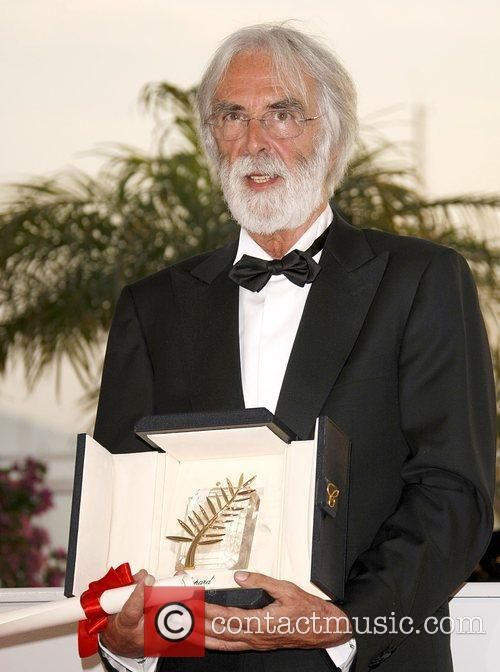 Director Michael Haneke with the Palme d'Or 2009...