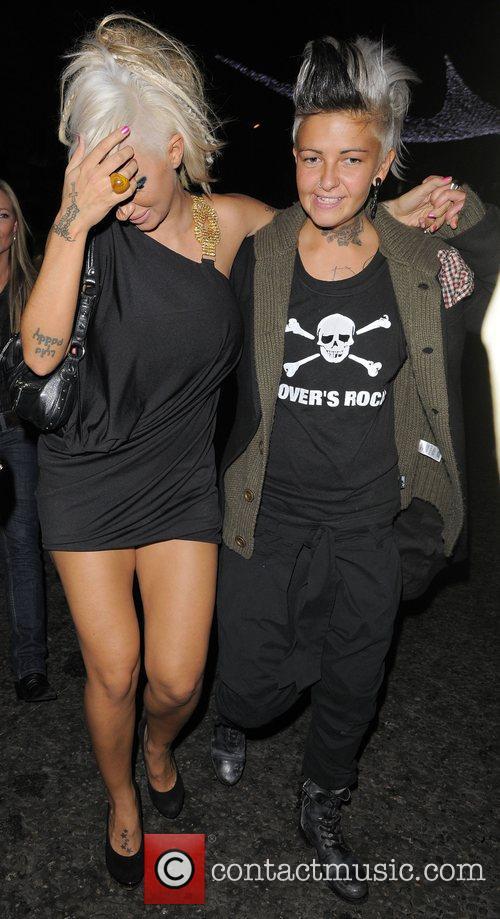Jodie Marsh and her girlfriend Nina, leaving Chinawhite...