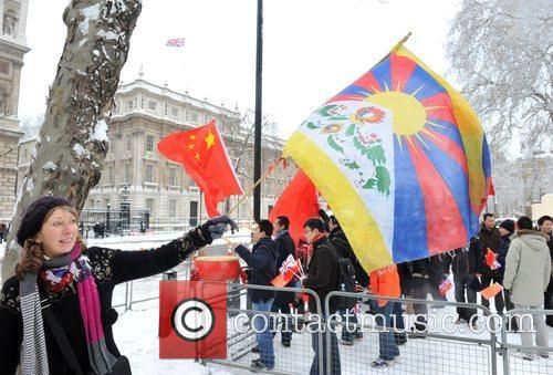 Pro-Tibet and pro-chinese protesters gather at Downing Street...