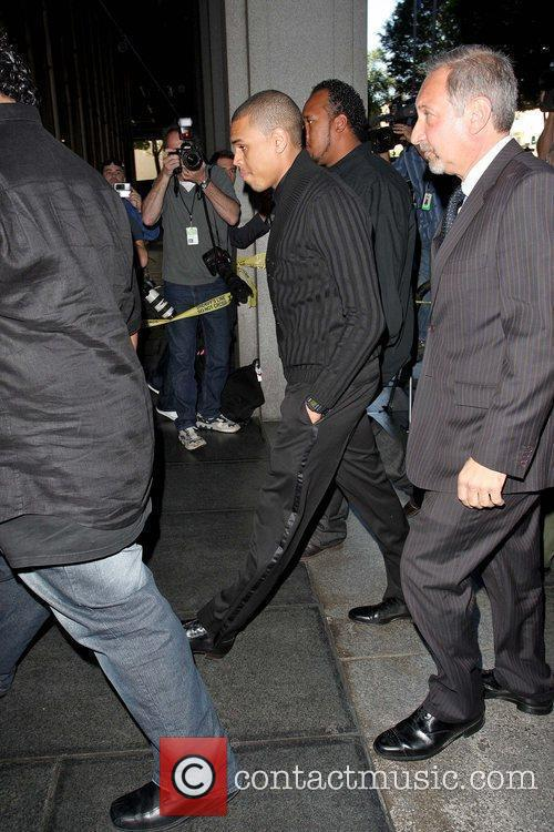 Chris Brown arriving at Los Angeles County Court...