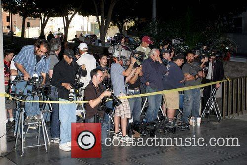 Media Chris Brown arriving at Los Angeles County...