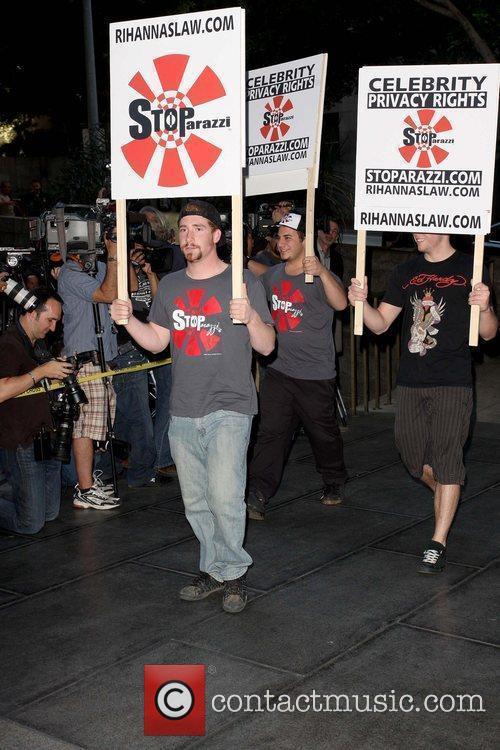 Protestors Chris Brown arriving at Los Angeles County...