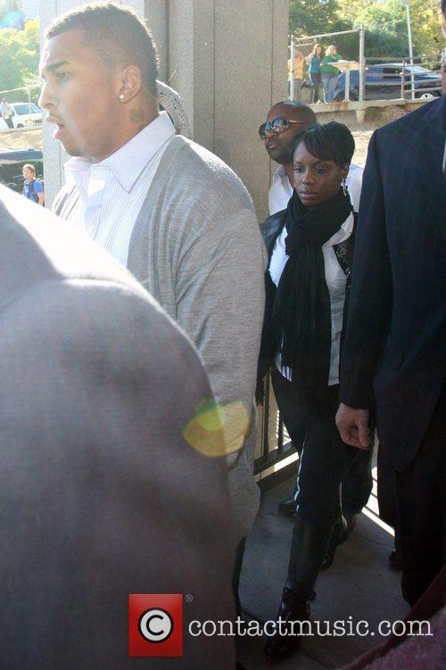 Chris Brown's family arrive at the Los Angeles...