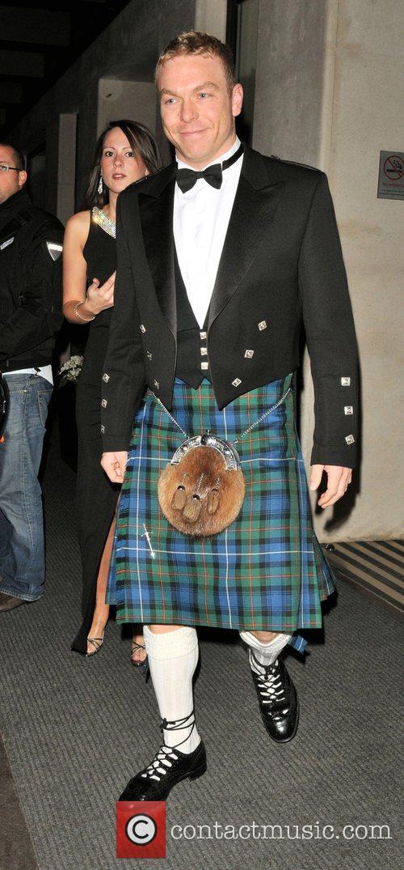 Chris Hoy leaving the Mayfair Hotel. London, England