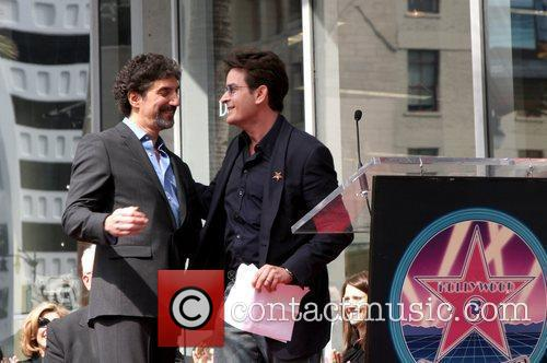 Chuck Lorre and Charlie Sheen Hollywood Walk of...