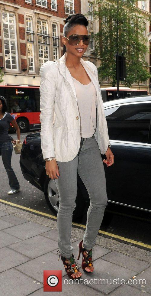Ciara arrives outside the BBC Radio One studios...