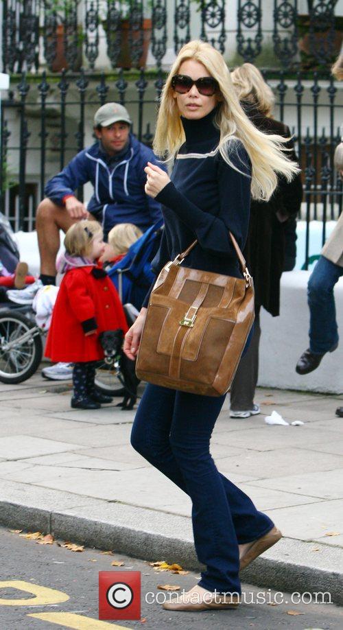 Claudia Schiffer takes her son Casper to school...