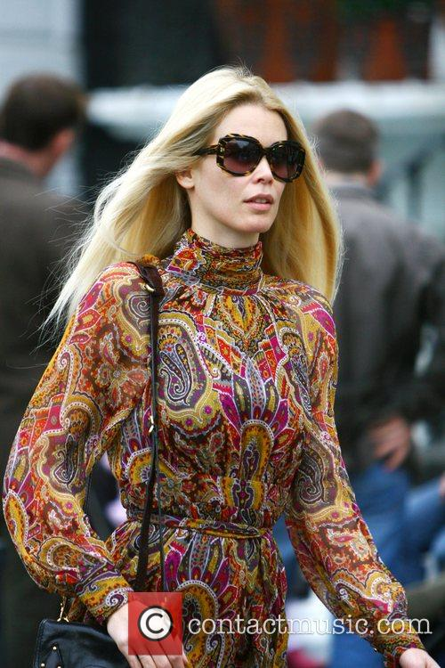 Claudia Schiffer returns home after taking her children...