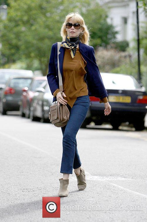 Claudia Schiffer leaving after dropping her children off...