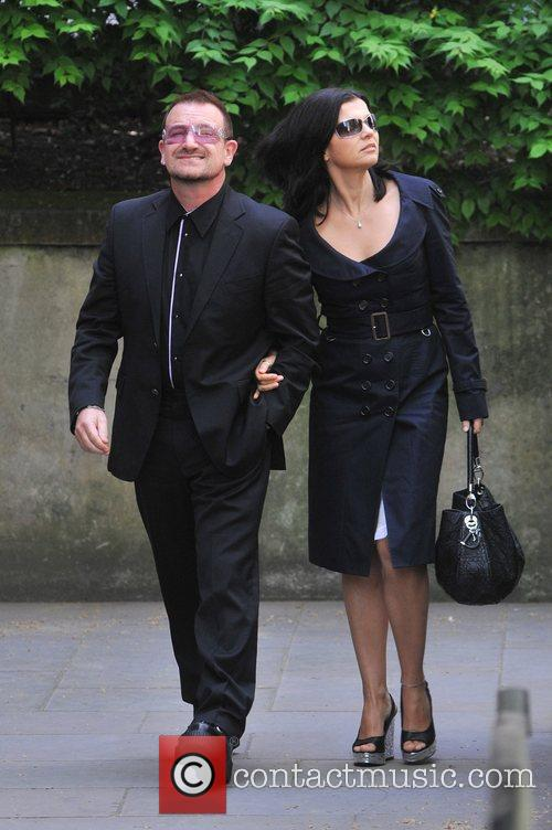 Bono and Alison Hewson Sir Clement Freud's funeral...