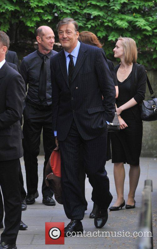 Stephen Fry Sir Clement Freud's funeral held at...
