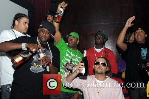 Busta Rhymes parties with friends at Club Mansion...