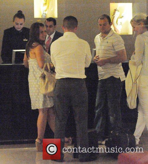Coleen Rooney and Wayne Rooney at their hotel