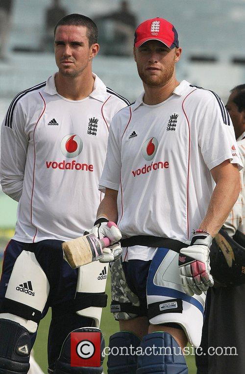 Kevin Pietersen and Andrew Flintoff  during the...