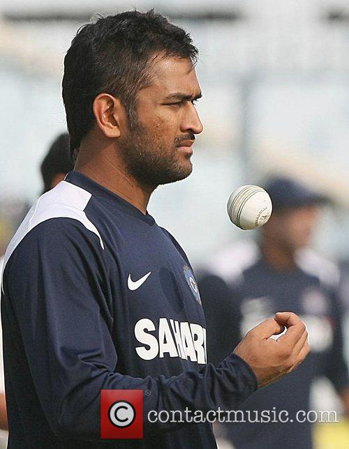 M.S.Dhoni  during the net practice at Green...