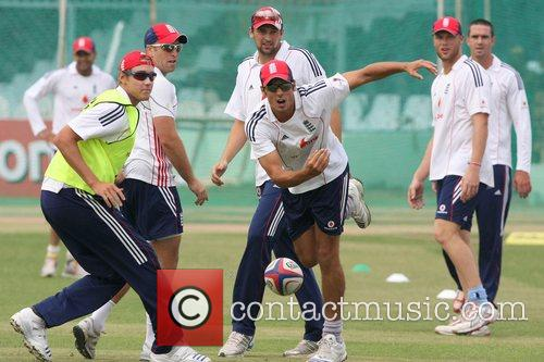 Members of the England team during the net...