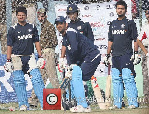 During the net practice at Green Park