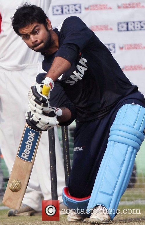 Virat Kohali during the net practice at Green...