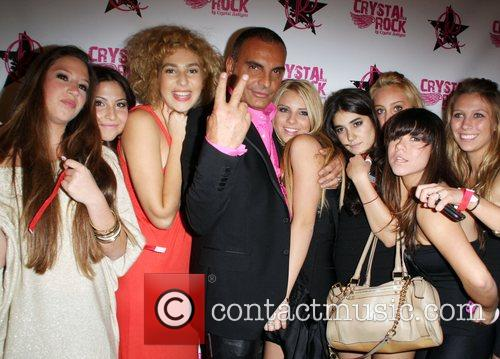 Christian Audigier, Crystal Rock Audigier with friends and...