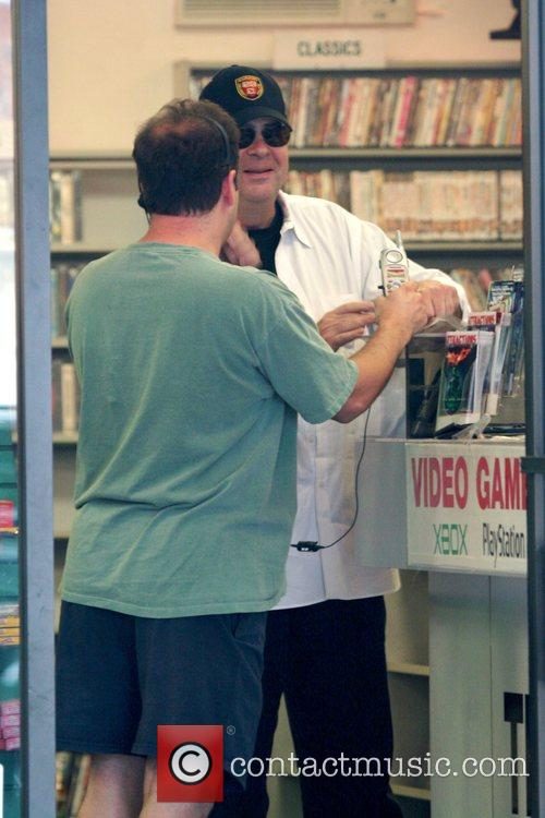 Dan Aykroyd at a video store in Hollywood...