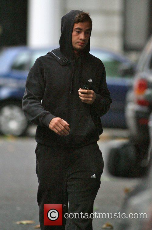 Danny Cipriani leaves his girlfriend Kelly Brook's house...