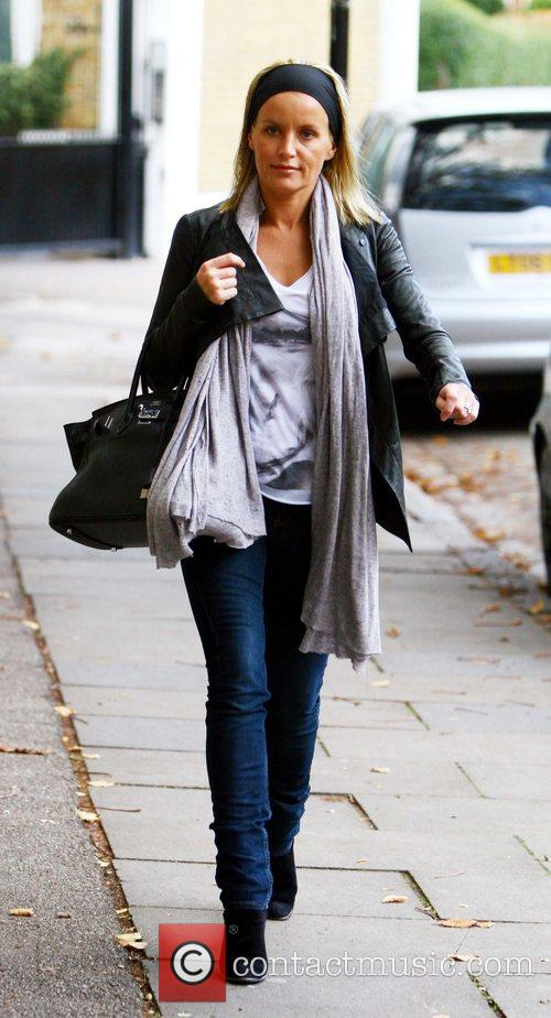 A slim Davinia Taylor leaving Kate Moss' house
