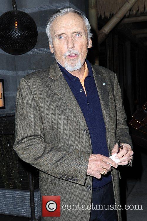Dennis Hopper leaving Luau restaurant in Beverly Hills...