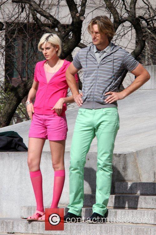 Agyness Deyn and Gabriel Aubrey filming a commercial...