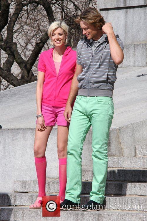Agyness Deyn, Gabriel Aubrey filming a commercial in Manhattan, wearing matching pastel pink, green outfits