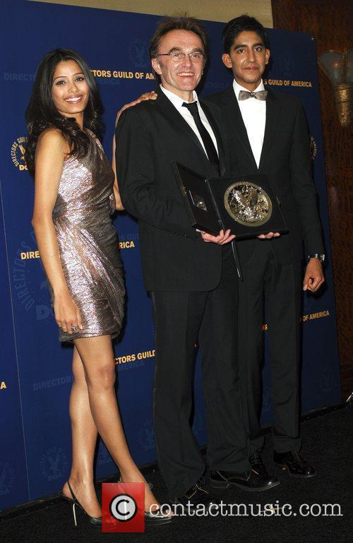Frieda Pinto and Dev Patel with Director Danny...