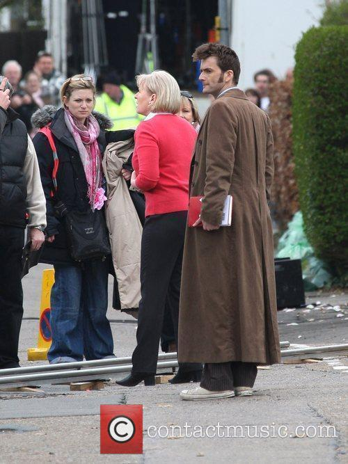 Jacqueline King and David Tennant filming on the...