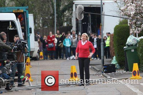 Jacqueline King filming on the set of the...