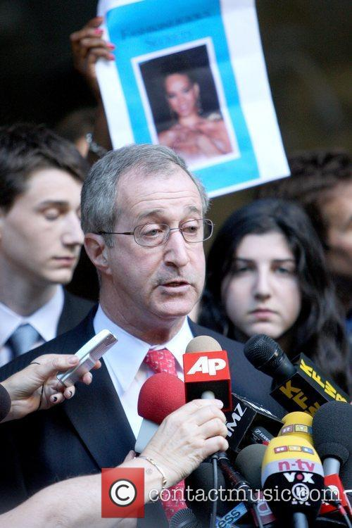 Donald Etra Rihanna's attorney speaks during a press...