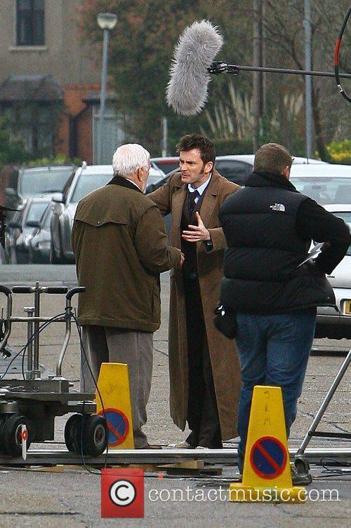 David Tennant and Bernard Cribbins filming on the...