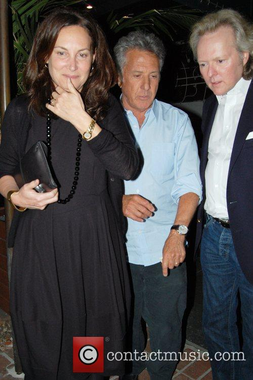 Dustin Hoffman leaving Madeo Restaurant after having dinner...