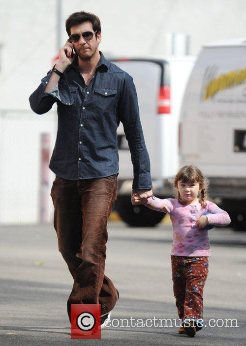 Dylan McDermott out with his daughter in Santa...