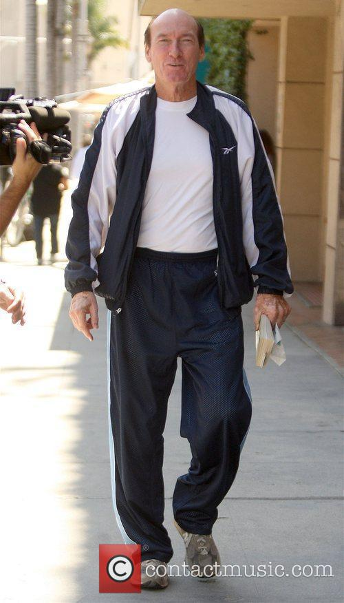 Ed Lauter leaving a medical centre in Beverly...