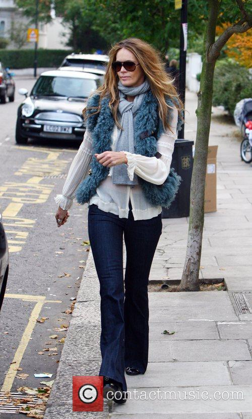 Elle MacPherson dropping her children at school London,...
