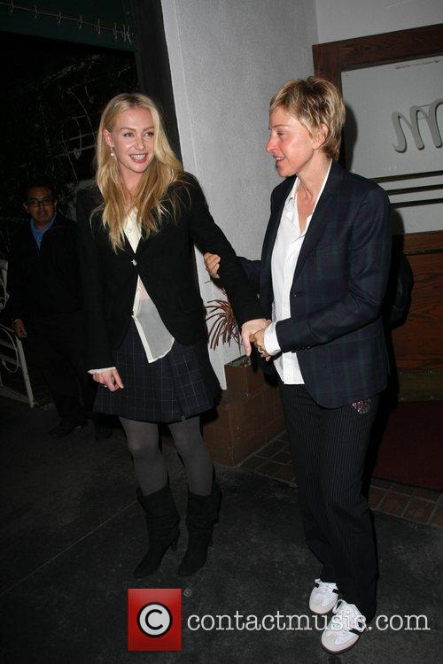 Ellen Degeneres and Portia DeRossi leaving Madeo Los...
