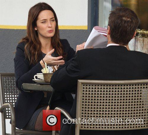 Emily Blunt enjoys coffee and cigarettes with a...