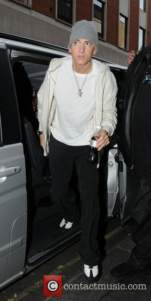 Eminem arrives at a recording studio London, England