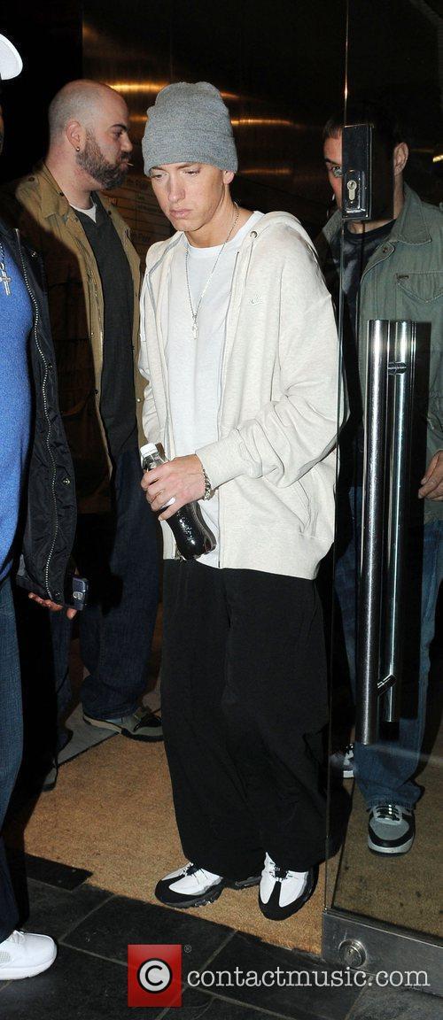 Eminem leaving a recording studio London, England