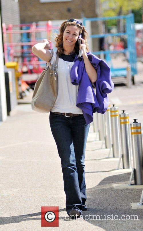 Emma Crosby leaving the London studios after presenting...