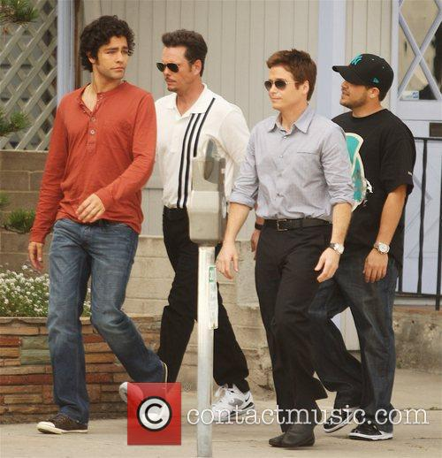 Filming a scene for 'Entourage' at Urth Caffe