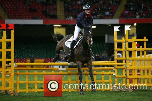 Tara Palmer-Tomkinson competing in 'Express Eventing International Cup'...