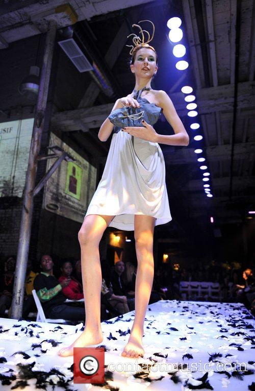 Model takes to the catwalk for the 'Fashion...