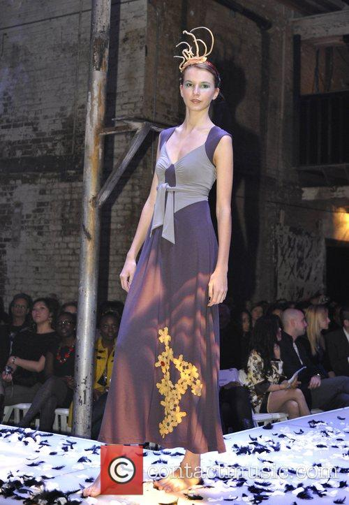 Model takes to the stage wearing Damzels designs...