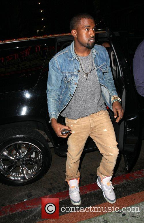 Kanye West arrives to watch Lady Gaga performing...