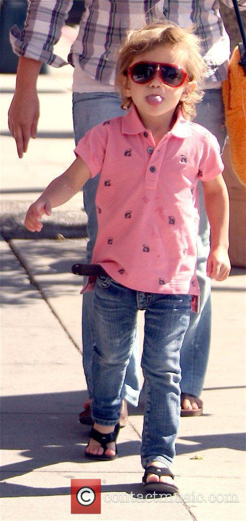 Kingston Rossdale goes with his dad Gavin Rossdale...