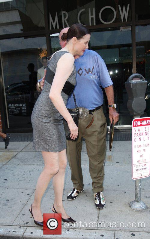 Geena Davis leaving Mr Chow restaurant in Beverly...